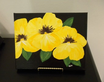 Flower Painting Bright Yellow Pansies - Folk Art  - Table/Desk Art - - Give Flowers that Last Forever