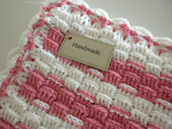 Crochet Baby Blanket Pink & White Crochet Child Stroller Carriage Size 27 x 27 Brand New Handmade  Baptism Shower Gift FREE SHIPPING