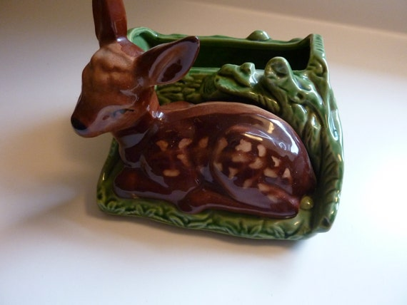Sweet Little Doe Fawn Deer Pocket Planter Container Garden by Shawnee Pottery - Made in USA
