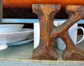 Vintage Antique Wooden Hand Carved Letter K