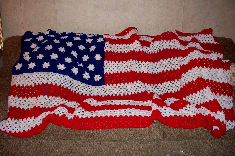 Knitting Pattern For American Flag Afghan : Crochet American Flag