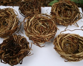 Hand-woven Bird Nest Favors Weddings-Showers-Any Event  w/Woodland,Nature, Garden or Country Theme & Art Projects (Set of 6)