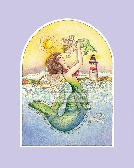Laughing Child - A7 Card - Mermaid