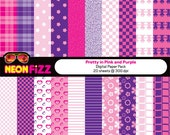 Digital Paper Pack. 20 sheets. Pretty in Pink. Download and print.