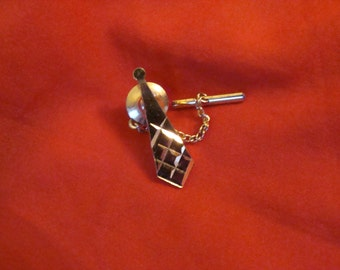Vintage 1980s Tie Tack/Pin with chain - styled as a tie
