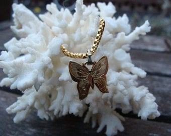 Vintage Gold Plated Butterfly Necklace