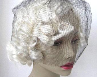 Vintage 1950s Black Net Birdcage Veil with Black Bow