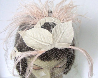 Vintage 50s Pink Ostrich Feather and French Netted Fascinator Hat Union Made, in the USA