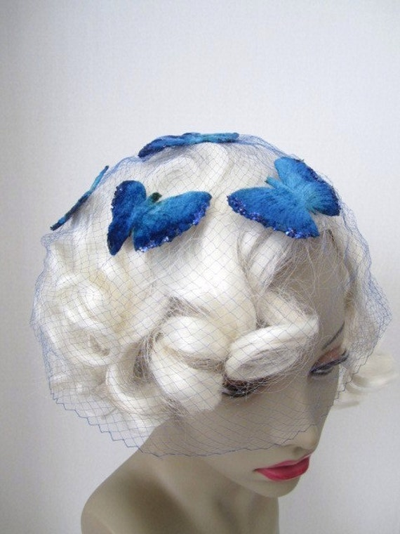 Vintage Brilliant Blue Butterfly Veil hair Net