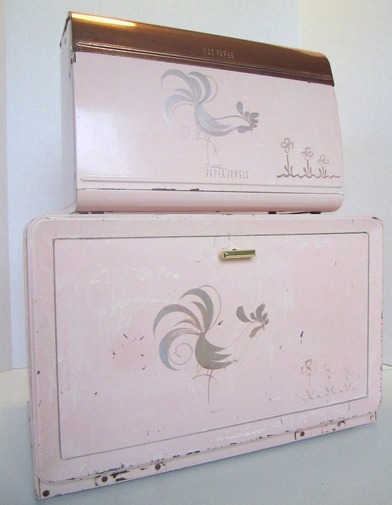 Vintage 1950s PINK metal Breadbox and Matching Foil, Wax Paper and Paper Towel Holder/ Dispenser by RANSBURG