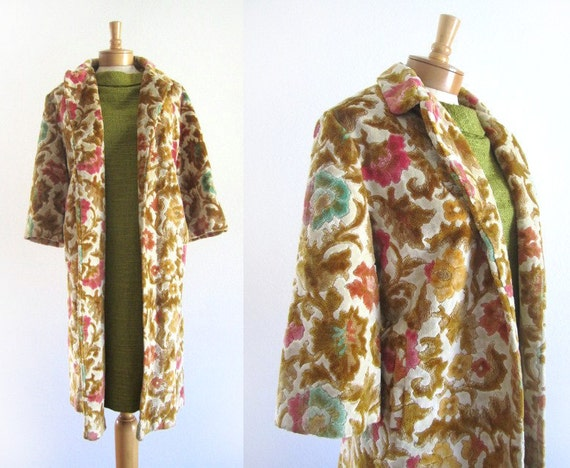 RESERVED  Gorgeous Vintage 60s Chenille Tapestry Jacket Coat Mad Men Style by Drapers, with Union label
