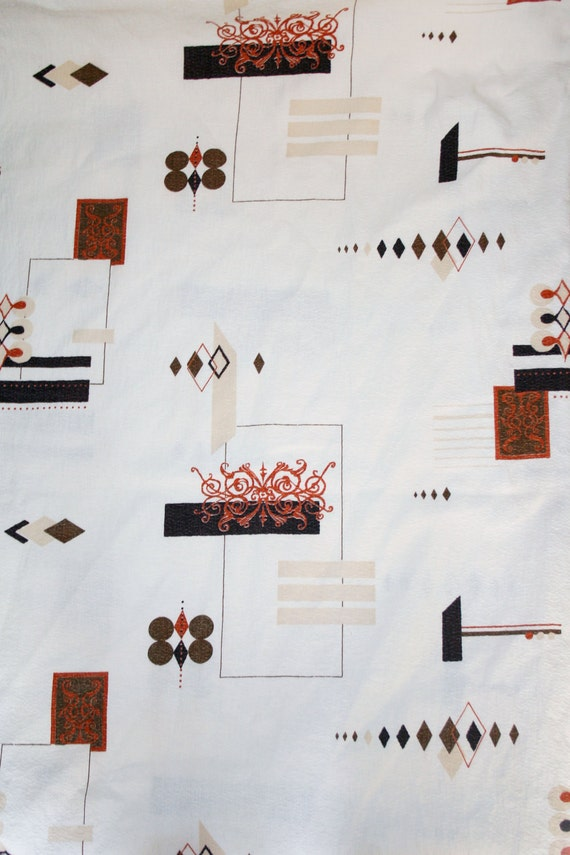 Original Vintage Barkcloth Fabric Drapes(White Brown Black Orange) Modern Print Varying Sized Panels