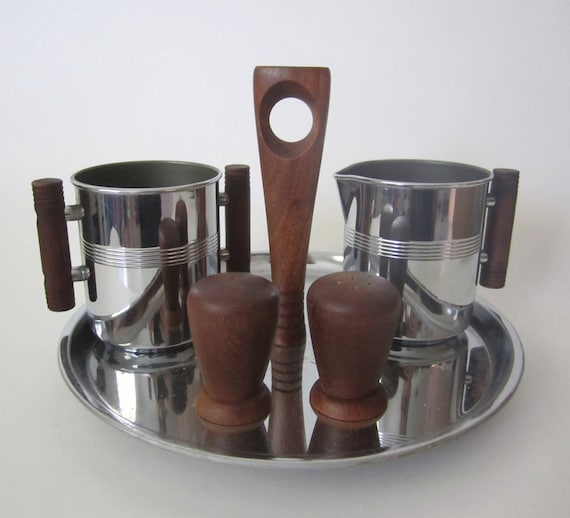 Vintage 5 piece Serving Set Creamer, Sugar Bowl, Salt and Pepper Shakers with Tidbit Tray Westinghouse