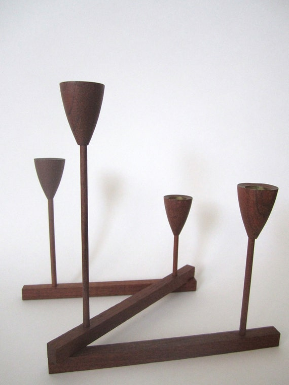 Mid Century Modern Teak Wood Candelabra, Candle Holder, Centerpiece, Designed by Shigemichi Aomine, Modernist Design, circa 1950s 50s