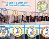 Sweet Safari Photo banner boy - Picture banner 1st Birthday Party Jungle Birthday Safari Birthday  Jungle party Safari Birthday  - PDF file