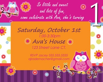 Owl birthday invite owl invitation owl invite Owl Blossom theme owl birthday party girl 1st birthday party girl 1st birthday invite owls