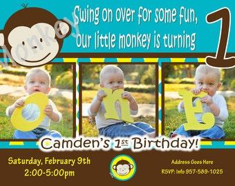 Mod Monkey Invitation Mod Monkey invite Photo - 1st Birthday Party Boy pictures invite 1 year old 1st birthday invitation boy 1 year invite