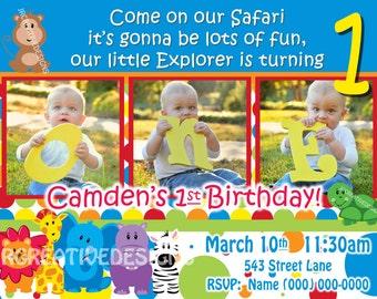 Safari Friends Invite Safari Invite Safari invitation Jungle Invite Jungle Invitation 1st Birthday Boy invite Birthday Party Invitation