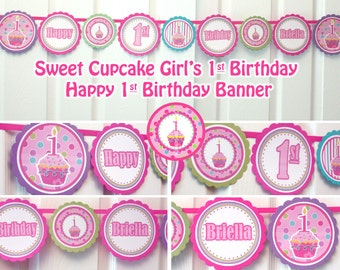 happy birthday banner printable birthday banner girl cupcake birthday party cupcake birthday banner 1st birthday banner girl decorations