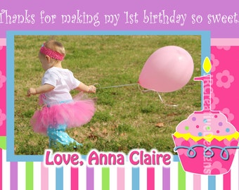 Cupcake thank you Birthday Sweet Cupcake Girl's 1st Birthday thank you Cupcake Girl Birthday thank you Cupcake