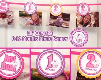 Lil Cupcake Banner 0-12 Months Cupcake Photo Banner 1 year Banner Birthday Party Lil Cupcake  Girl 1st Birthday (DIY Digital Printable PDF)