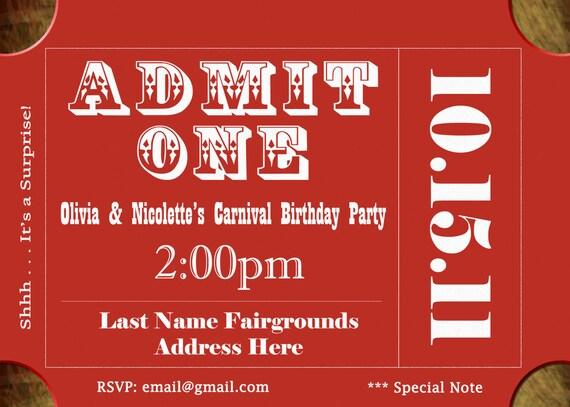 Ticket Invite Ticket Invitation Circus Invitation Canrival Invitation Carnival Birthday Party Circus Birthday Party Invitation coed Red