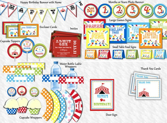 Carnival Birthday Party Package, Circus Birthday Party Package Invite Thank You, Signs, Banners, Cupcake Toppers PERSONALIZED Editable Files