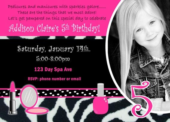 Girls Birthday Party Invitations gangcraftnet – Girls Spa Birthday Party Invitations