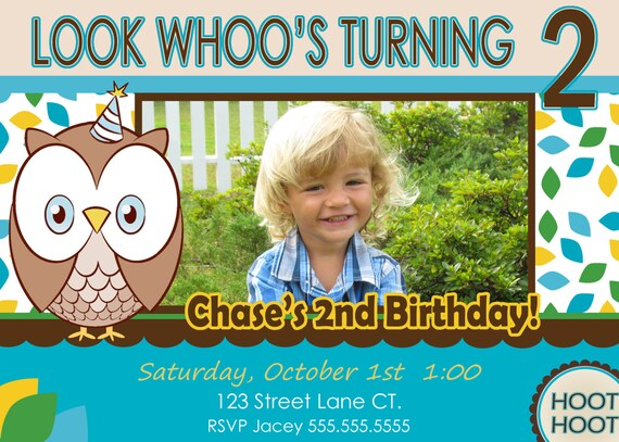 Owl Invite Boy St Birthday Party Invitation Look Whoos Owl - Birthday invitation cards 1 year old boy