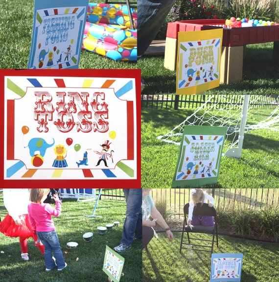 Circus Signs Carnival Birthday Party Signs Games Printable DIY Large Yard Signs PDF 112 Signs included, plus EDITABLE blank signs Mic Word