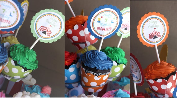 Carnvial Cupcake Toppers & Wrappers Circus Cupcake Toppers Carnival Birthday Circus Party Circus (digital File) DIY Editable Printable