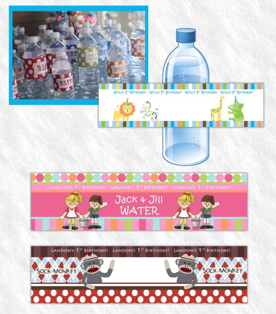 Customized Water Bottle Labels -  Any Theme  Birthday Decor Party Decorations  (digital File) DIY Printable