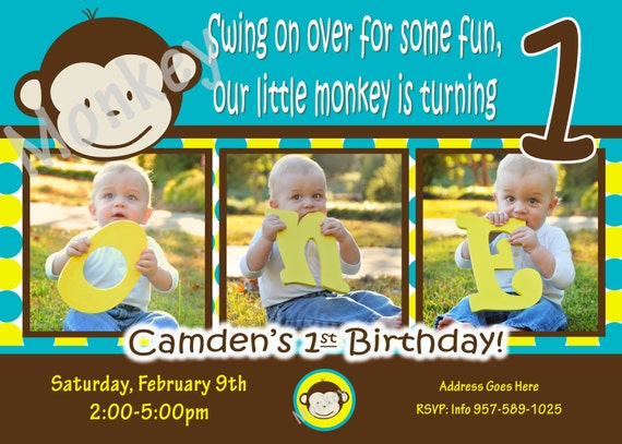 Party Boy Pictures Invite 1 Year Old 1st Birthday Invitation