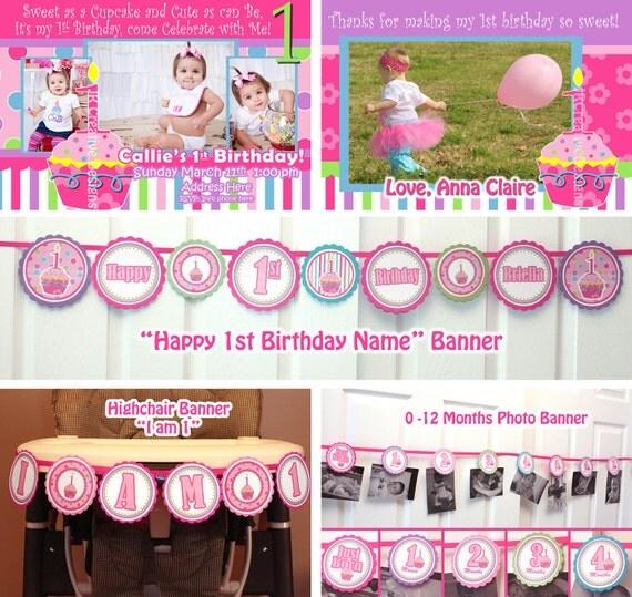 Birthday party package printable birthday banner girl 1st birthday il570xn filmwisefo