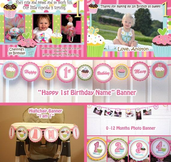Cupcake Birthday Party Sweet Treats Cupcake Party Package -  Girl 1st Birthday Package (digital Files) DIY