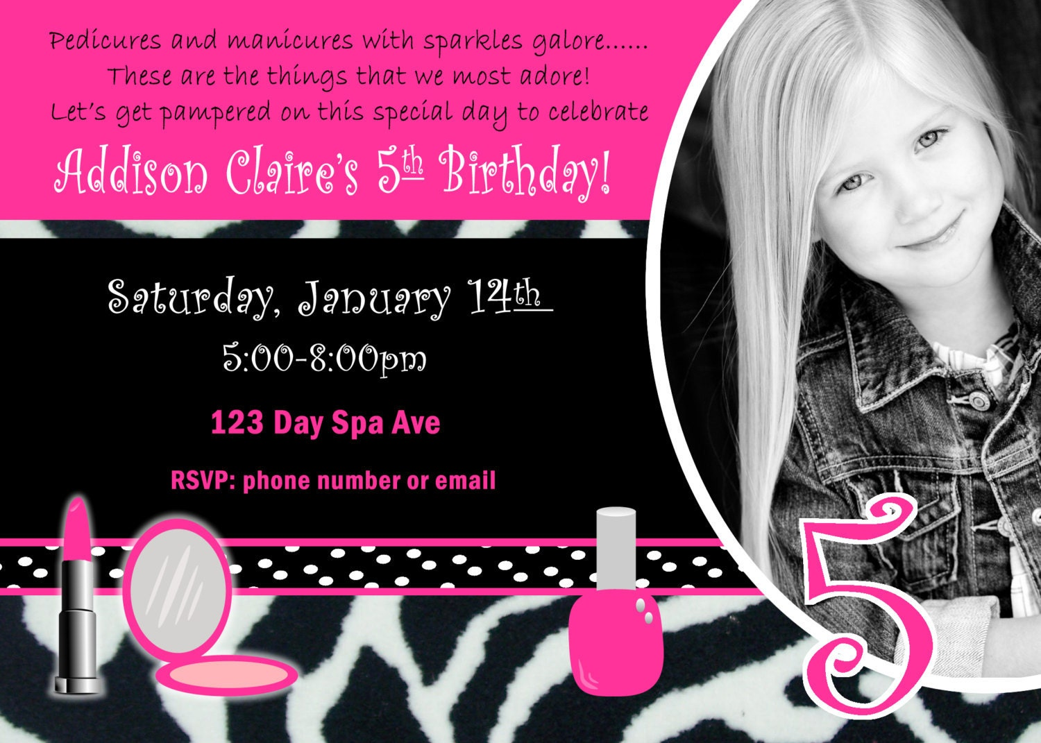 spa birthday party invite girl birthday party by jrcreativedesigns. Black Bedroom Furniture Sets. Home Design Ideas