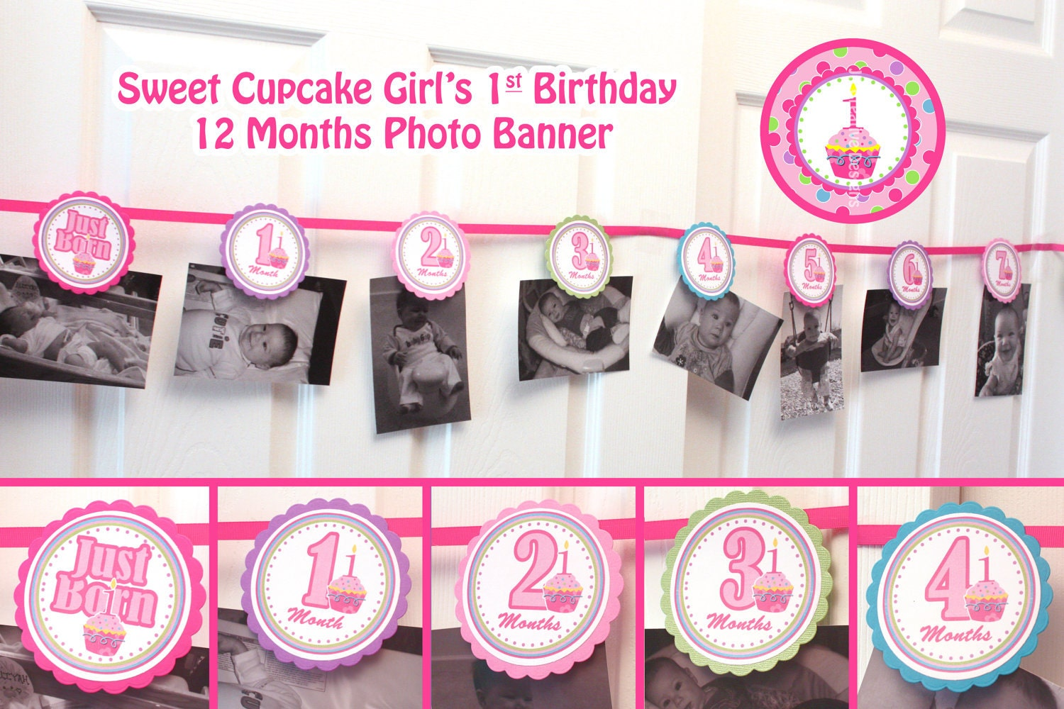 photo banner picture banner 1st birthday banner girl 12 month