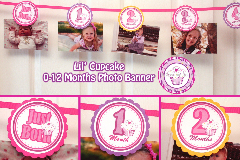 Lil Cupcake Banner 0-12 Months Cupcake Photo Banner 1 year
