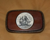 great for dad VTG leather and scrimshaw ship belt buckle