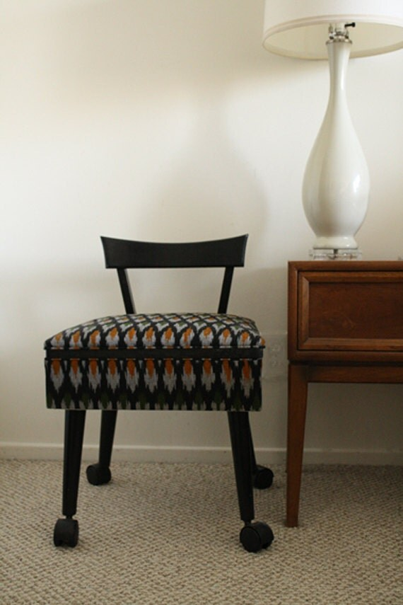 Small Mid-Century Chair with Storage