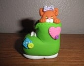 Polymer Clay Cat -Personalized Orange Kitty in Lime Green Boot Ornament/Figurine with Lavender Bow (Girl)