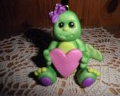 Polymer Clay Dinosaur -Personalized Dinosaur Ornament/Cake Topper/Keepsake (Girl)