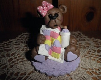Polymer Clay Teddy Bear -Personalized Teddy Bear with Quilt and Bottle Ornament/Baby Shower/ Cake Topper (Girl)