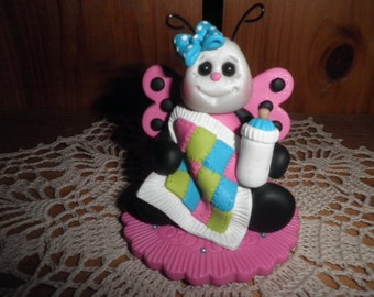 Polymer Clay Ladybug - Pink Ladybug Holding Quilt Baby Shower Cake Topper/Gift