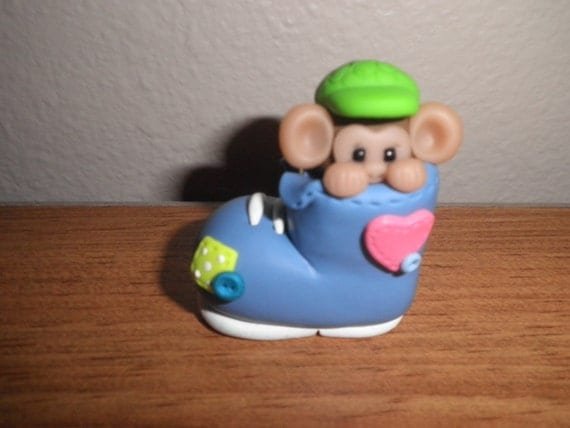Polymer Clay Monkey -Personalized Monkey in Blue Boot Ornament/Figurine with Green Hat (Boy)