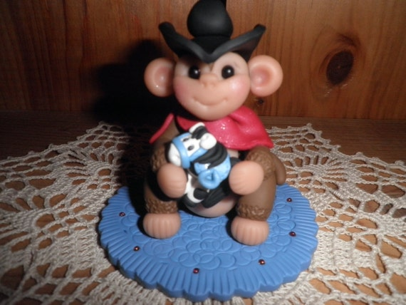 "Polymer Clay Monkey-""Cowboy Monkey with Horse"" Cake Topper/Gift"