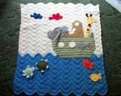 Crocheted Noah's Ark Afghan.