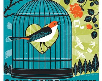 Inspirational Poster featuring Bird Cage Illustration