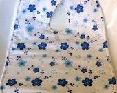 girls baby bib toddler bib blue flowers