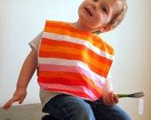 Bright Orange Baby bib Large Toddler Bib Stripes